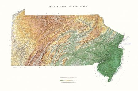 New Jersey And Pennsylvania Elevation Tints Map Wall Maps - Maps of nj