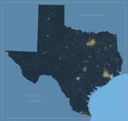 Texas Nightviews Map Fine Art Print - Texas elevation map
