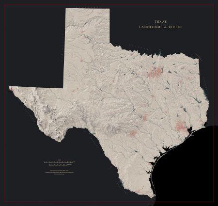 Landform Map Of Texas.Texas Landforms And Rivers Map Fine Art Print Maps