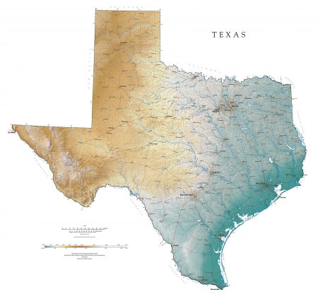 Texas Elevation Tints Map | Fine Art Print Map