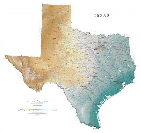Texas Elevation Tints Map Fine Art Print Map - Texas elevation map
