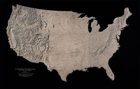Landforms and Drainage of the 48 States Wall Maps