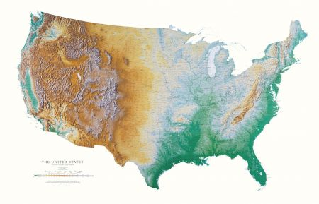 United States Elevation Tints Map Wall Maps - States map of the united states