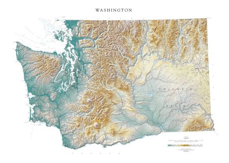 Washington Elevation Tints Map Fine Art Print Map