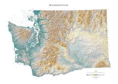picture regarding Printable Map of Washington State identified as Washington - Elevation Tint Map