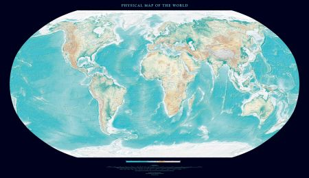 Physical Map of the World Black Wall Maps