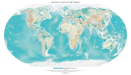 Physical Map of the World (White) | Wall Maps