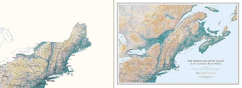 St Lawrence River World Map.North Atlantic Coast St Lawrence River Valley
