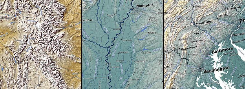 Elevation Tints Us Geographic Regions
